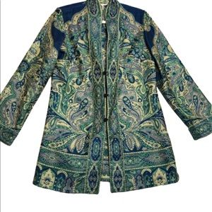 Travelsmith Blue Green Tapestry Car Coat S